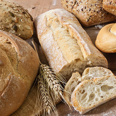 Delicious fresh breads on a table