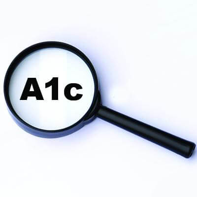 Magnifier glass with the word A1c