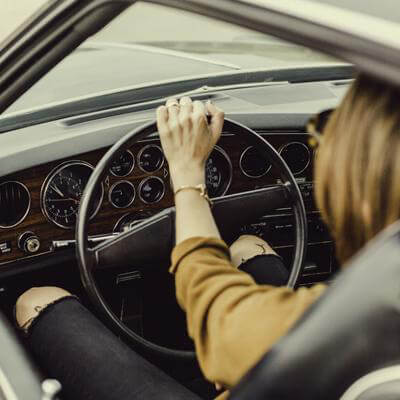 Women driving a car