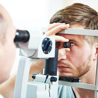 eye doctor exam of a patient