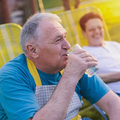 men drinking lemonade